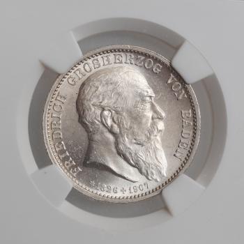 """Баден 2 марки 1907 г., NGC MS63, """"Смерть Фридриха I"""""""