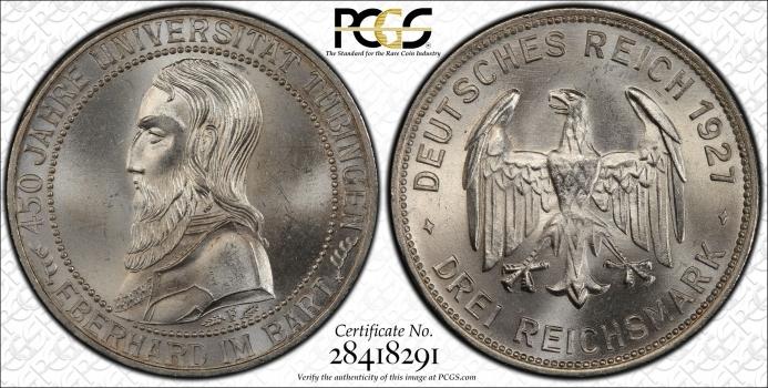 """Веймарская Республика 3 рейхсмарки 1927 г. F, PCGS MS64, """"450 лет Тюбингенскому университету"""""""