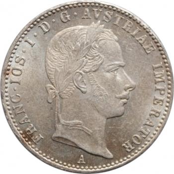 """Австрия 1/4 флорина 1858 г. A, BU, """"Император Франц Иосиф I (1848 - 1916)"""""""