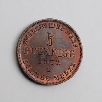 Мекленбург-Шверин 5 пфеннигов 1872 г., UNC, 'Великий герцог Фридрих Франц II (1842 - 1883)'