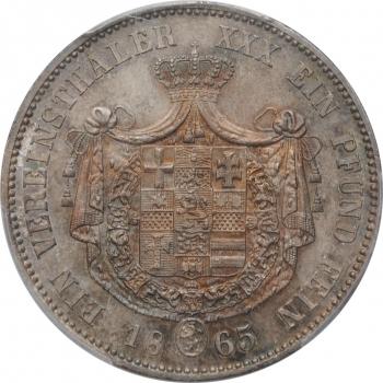 """Гессен-Кассель 1 союзный талер 1865 г., PCGS MS63, """"Курфюрст Фридрих Вильгельм I (1847 - 1866)"""""""