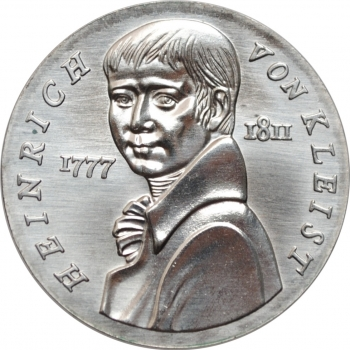 """ГДР 5 марок 1986 г., UNC, """"175 лет со дня смерти Генриха фон Клейста"""""""