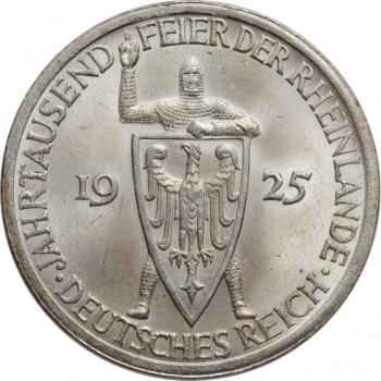 """Веймар 3 рейхсмарки 1925 г. A, BU, """"Тысячелетие Рейнской области (Рейнланда)"""""""