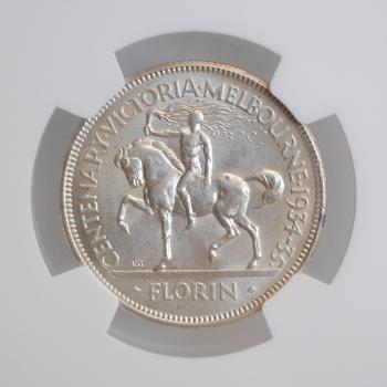 """Австралия 1 флорин 1934-35 г., NGC UNC Details, """"100 лет со дня основания Виктории и Мельбурна"""""""