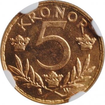 "Швеция 5 крон 1920 г. W, NGC MS65, ""Король Густав V (1908 - 1950)"""
