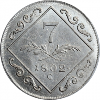 """Австрия 7 крейцеров 1802 г. C, AU, """"Император Франц II (1792 - 1835)"""""""