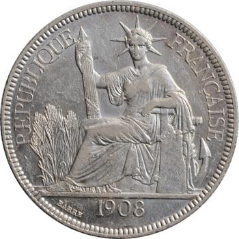 "Индокитай 1 пиастр 1908 г., XF, ""Французский Индокитай (1885 - 1954)"""