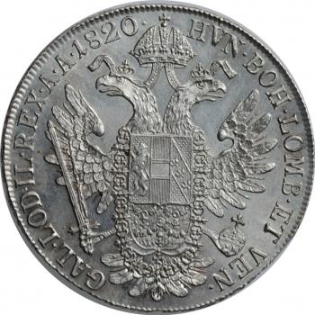 "Австрия 1 талер 1820 г. A, BU, ""Император Франц II (1806 - 1835)"""