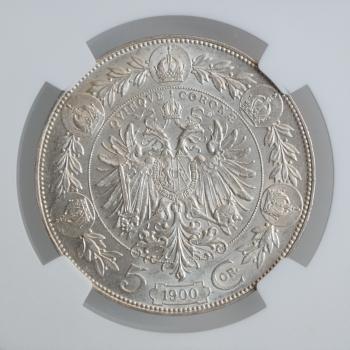 """Австрия 5 крон 1900 г., NGC AU58, """"Император Франц Иосиф I (1848 - 1916)"""""""