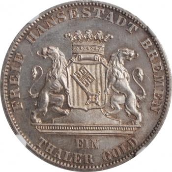 """Бремен 1 талер 1865 г., NGC MS64, """"Второй немецкий фестиваль стрельбы"""""""