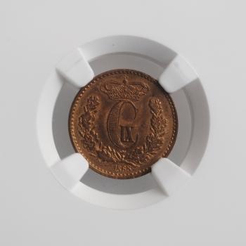 """Дания 1/2 скиллинга 1868 г., NGC MS64 RB, """"Король Кристиан IX (1863 - 1906)"""""""
