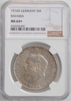 """Бавария 5 марок 1914 г., NGC MS64+, """"Король Людвиг III (1913 - 1918)"""""""