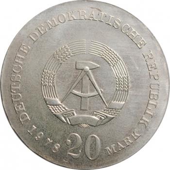 """ГДР 20 марок 1978 г., BU, """"175 лет со дня смерти Иоганна Готфрида Гердера"""""""