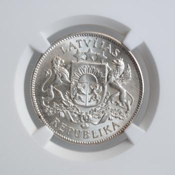 """Латвия 2 лата 1925 г., NGC MS64+, """"Первая Республика (1922 - 1940)"""""""
