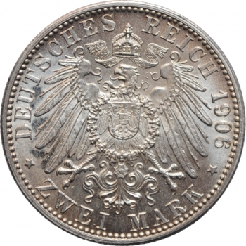 """Баден 2 марки 1906 г., BU, """"50 лет свадьбе Фридриха I и Луизы Прусской"""""""