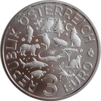"""Австрия 3 евро 2016 г., BU, """"Животные со всего мира - Летучая мышь""""ышь"""""""