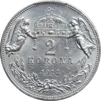 """Венгрия 2 кроны 1913 г., PCGS MS62, """"Император Франц Иосиф I (1848 - 1916)"""""""