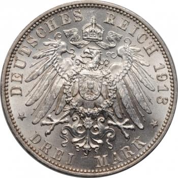 """Саксония 3 марки 1913 г., BU, """"100 лет Битве народов"""""""