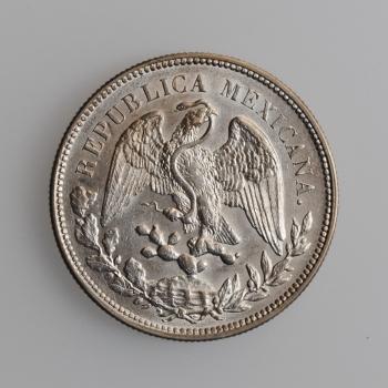 """Мексика 1 песо 1908 г. Mo AM, UNC, """"Мексиканские Соединённые Штаты (1905 - 1969)"""""""