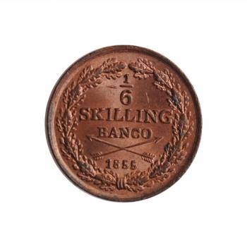 """Швеция 1/6 скиллинга 1855 г., BU, """"Король Оскар І (1844 - 1859)"""""""