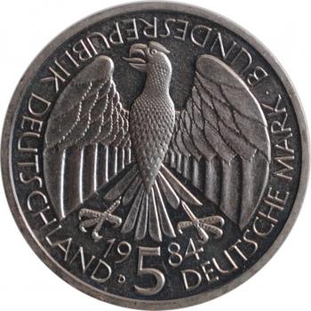 """Германия - ФРГ 5 марок 1984 г., UNC, """"150 лет образования немецкого таможенного союза"""""""