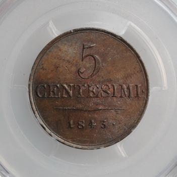 "Ломбардия-Венеция 5 чентезимо 1843 г. M, PCGS MS64 BN, ""Король Фердинанд I (1835 - 1848)"""