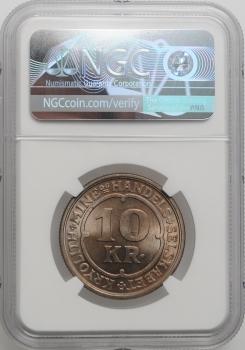 """Гренландия 10 крон 1922 г., NGC MS64, """"Креолитовые шахты Ивигтута"""""""