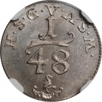 """Саксен-Гота-Альтенбург 1/48 талера 1770 г., NGC MS66, """"Герцог Фридрих III (1732 - 1772)"""""""