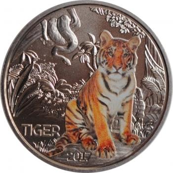 """Австрия 3 евро 2017 г., BU, """"Животные со всего мира - Тигр"""""""