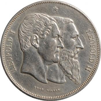"Бельгия 5 франков 1880 г., XF, ""50 лет независимости"""