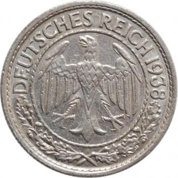 """Германия 50 рейхспфеннигов 1938 г. E, AU, """"Веймарская Республика (Рейхсмарка) (1924 - 1938)"""""""