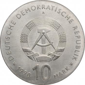 """ГДР 10 марок 1990 г., BU, """"175 лет со дня смерти Иоганна Готлиба Фихте"""""""