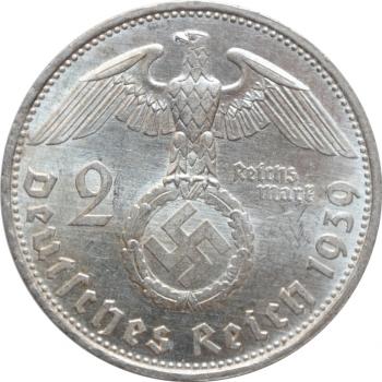 """Германия - Третий рейх 2 рейхсмарки 1939 г. D, BU, """"Нацистская Германия (1933 - 1945)"""""""
