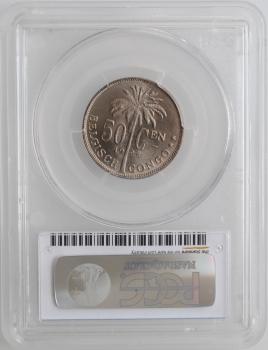 """Бельгийское Конго 50 сантимов 1928 г. DER, PCGS MS65, """"Колония Бельгии (1909 - 1949)"""""""