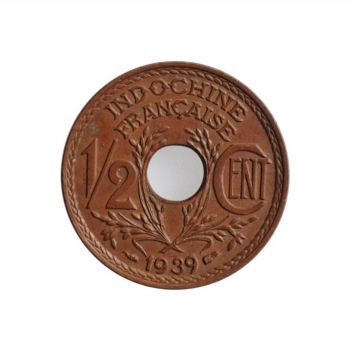 "Индокитай 1/2 сантима 1939 г., UNC, ""Французский Индокитай (1885 - 1954)"""