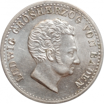 """Баден 10 крейцеров 1829 г., UNC, """"Великий герцог Людвиг I (1818 - 1830)"""""""