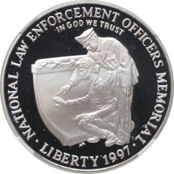 """США 1 доллар 1997 г., NGC PF69, """"Национальный Мемориал сотрудников правоохранительных органов"""""""