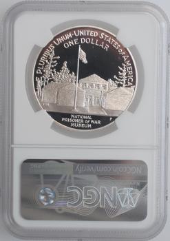 """США 1 доллар 1994 г., NGC PF69, """"Национальный музей военнопленных"""""""