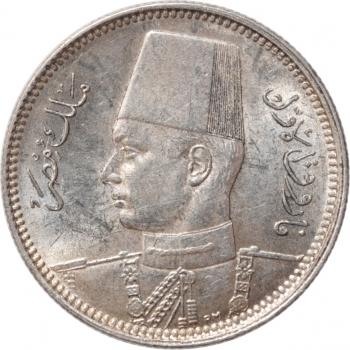 """Египет 2 пиастра 1937 г., AU, """"Король Фарук I (1936 - 1952)"""""""