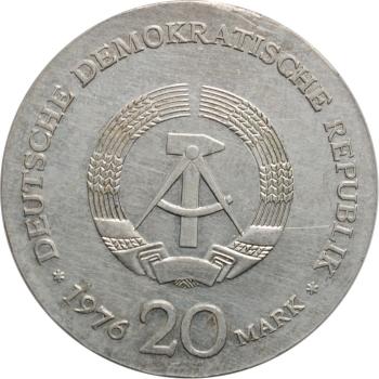 """ГДР 20 марок 1976 г., UNC, """"150 лет со дня рождения Вильгельма Либкнехта"""""""