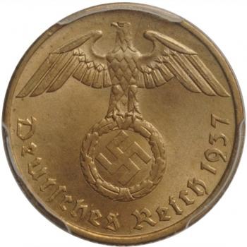 """Германия - Третий рейх 5 рейхспфеннигов 1937 г. A, PCGS MS64, """"Нацистская Германия (1933 - 1945)"""""""