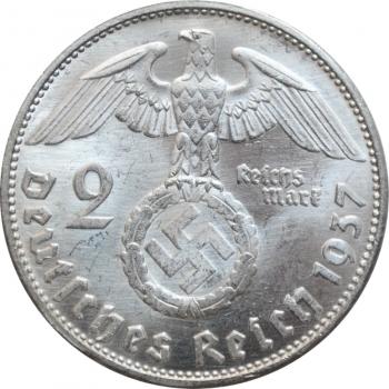 """Германия - Третий рейх 2 рейхсмарки 1937 г. G, BU, """"Нацистская Германия (1933 - 1945)"""""""