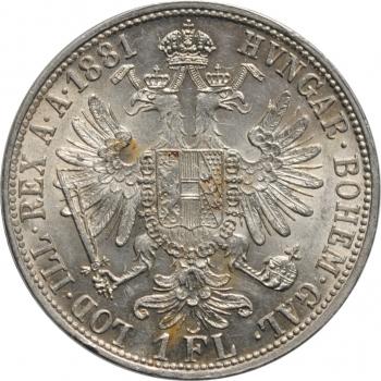 """Австрия 1 флорин 1881 г., UNC, """"Император Франц Иосиф (1848 - 1916)"""""""