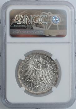 """Вюртемберг 3 марки 1911 г., NGC MS63, """"25 лет свадьбе Вильгельма II и Шарлотты"""""""