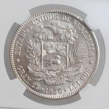 """Венесуэла 5 боливаров 1936 г., NGC MS62, """"Соединенные Штаты Венесуэлы (1879 - 1952)"""""""