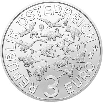 """Австрия 3 евро 2019 г., BU, """"Супер динозавры - Спинозавр /Spinosaurus/"""""""
