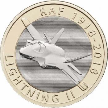 "Великобритания 2 фунта 2018 г., BU, ""100 лет ВВС - Lockheed Martin F-35 Lightning II"""