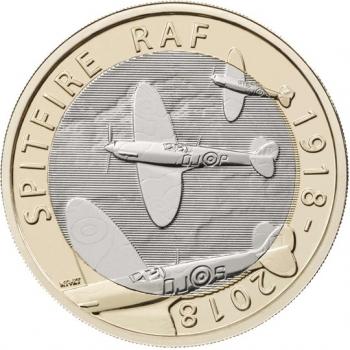 """Великобритания 2 фунта 2018 г., BU, """"100 лет Королевским ВВС - Supermarine Spitfire"""""""