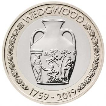 """Великобритания 2 фунта 2019 г., BU, """"260 лет основанию Веджвуд"""""""