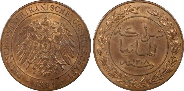 Германская Восточная Африка 1 пеза 1891 г., PCGS MS65RB, 'Рупия (pre-decimal) (1890 - 1903)'